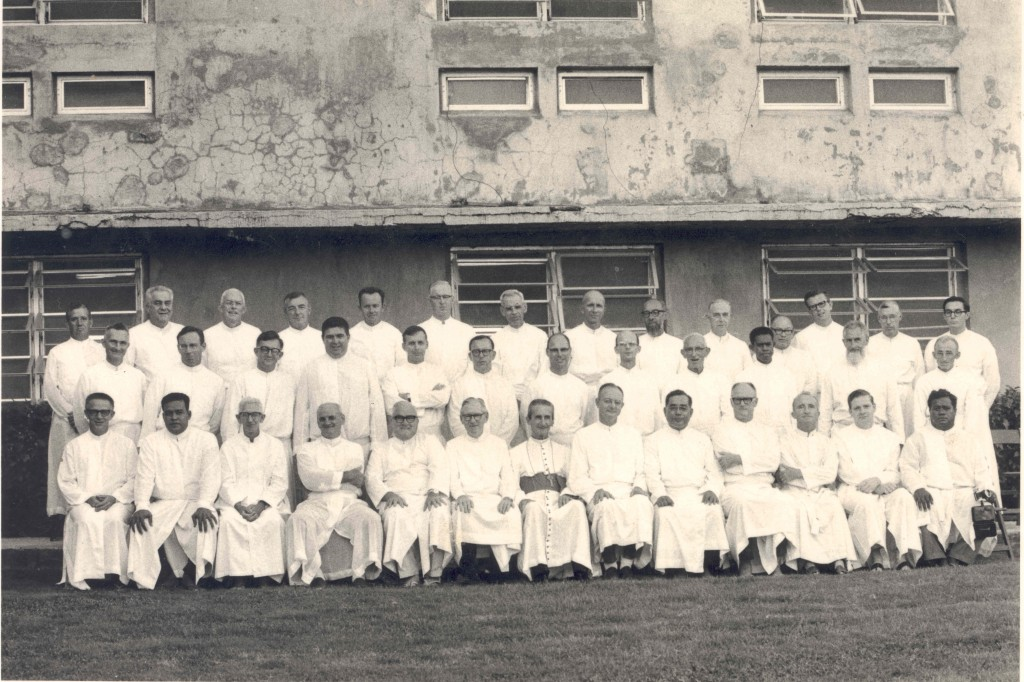 Jesuits attending the first Micronesia regional Jesuit planning meeting in 1968.