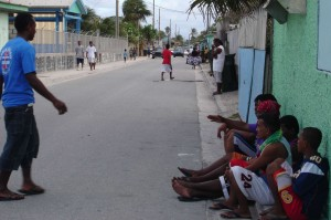 A street scene from Ebeye, Republic of the Marshall Islands