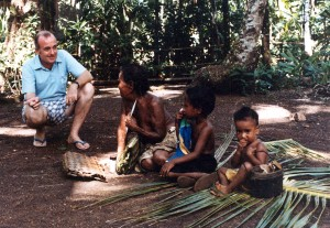 Father Horgan chatting with Yapese children.