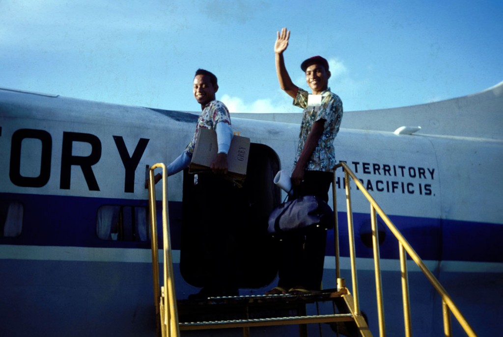 Taka with another Xavier student boarding the plane to Pohnpei, when he was a student at Xavier, ~mid-1960's.