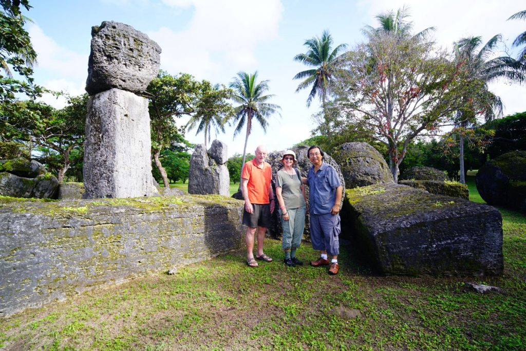 Hiro and Becky Kurashina, two of the archaeological party, with me in front of the House of Taga display on Tinian.