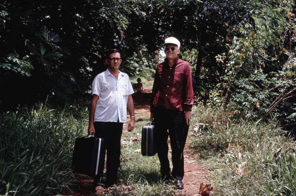 Fr. William McGarry on a path with Bishop Martin Neylon, 1970